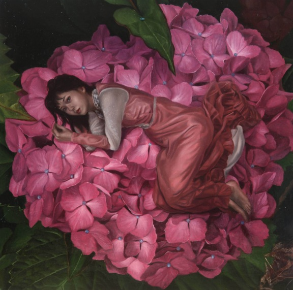 Looking into a Red Hydrangea, the Maiden was Sleeping There